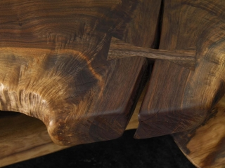 walnut bench close up